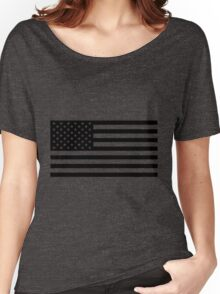 Black and White USA America Flag Women's Relaxed Fit T-Shirt