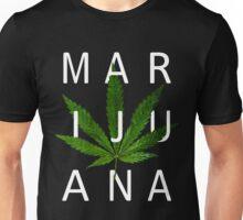 Marijuana - Minimalist Leaf [White Text] Unisex T-Shirt