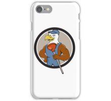 Bald Eagle Plumber Plunger Circle Cartoon iPhone Case/Skin