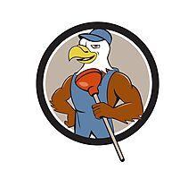 Bald Eagle Plumber Plunger Circle Cartoon Photographic Print