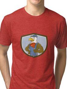 Bald Eagle Plumber Plunger Crest Cartoon Tri-blend T-Shirt
