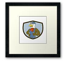 Bald Eagle Plumber Plunger Crest Cartoon Framed Print