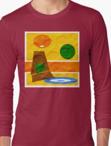 70's Lounge textured by Anne Winkler Long Sleeve T-Shirt