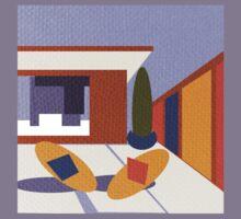 50's Patio textured by Anne Winkler Kids Tee