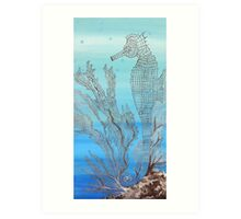 Seahorse in Moonglow Fan Coral Art Print