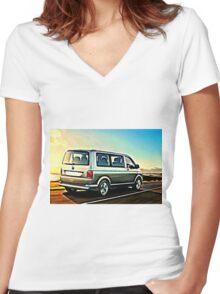 T6 Sunrise Women's Fitted V-Neck T-Shirt
