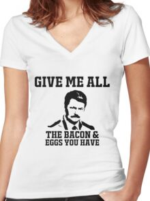 Swanson Give me all Women's Fitted V-Neck T-Shirt