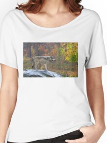 Timber Wolf in the rain Women's Relaxed Fit T-Shirt