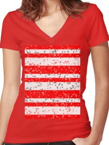 Red White Stripe Patchy Marble Pattern Women's Fitted V-Neck T-Shirt