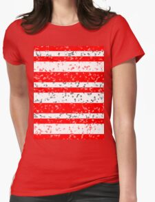 Red White Stripe Patchy Marble Pattern Womens Fitted T-Shirt