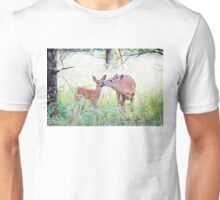 A morning kiss - White Tailed Deer Fawn Unisex T-Shirt