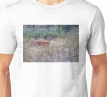 White Tailed Deer Fawn in Queen Anne's Lace Unisex T-Shirt
