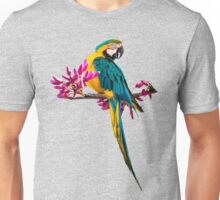 Parrot on a branch with pink flowers Unisex T-Shirt