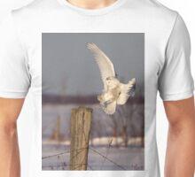 Snowy Owl on post Unisex T-Shirt