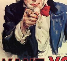 America, American, I Want You! Uncle Sam Wants You, USA, War, Recruitment Poster Sticker