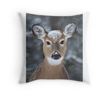 New Winter hat - White-tailed deer Throw Pillow