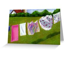 Laundry on the Line: Original Pastel Art, Country Summer Greeting Card