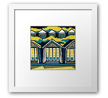Beach Huts, Bournemouth -  Teal & Mustard Framed Print