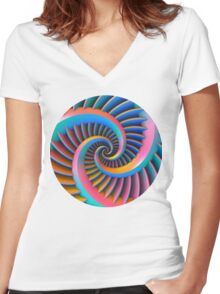 Opposing Spiral Pattern in 3-D Women's Fitted V-Neck T-Shirt