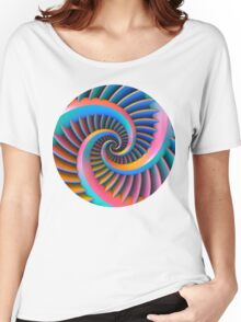 Opposing Spiral Pattern in 3-D Women's Relaxed Fit T-Shirt