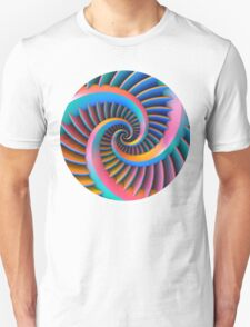 Opposing Spiral Pattern in 3-D Unisex T-Shirt