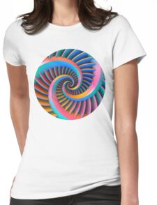 Opposing Spiral Pattern in 3-D Womens Fitted T-Shirt