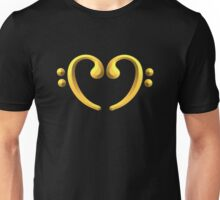 Golden Bass Heart Unisex T-Shirt