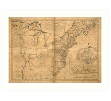 United States Map according to the Treaty of Paris (Sept 3rd 1783) Art Print