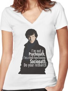Sherlock - Psychopath/ Sociopath Women's Fitted V-Neck T-Shirt
