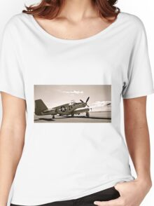 Tuskegee P-51 Mustang Vintage Fighter Plane Women's Relaxed Fit T-Shirt