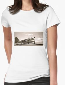 Tuskegee P-51 Mustang Vintage Fighter Plane Womens Fitted T-Shirt