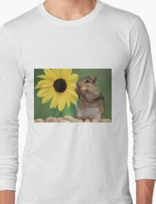 Chipmunk eating peanut next to lemon sunflower Long Sleeve T-Shirt
