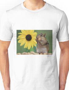 Chipmunk eating peanut next to lemon sunflower Unisex T-Shirt