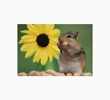 Chipmunk eating peanut next to lemon sunflower Unisex T-Shirt