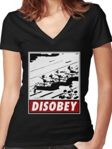 Tank Man- Disobey Women's Fitted V-Neck T-Shirt