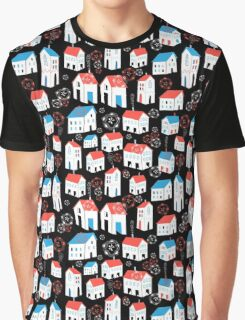 Graphic pattern with different houses Graphic T-Shirt