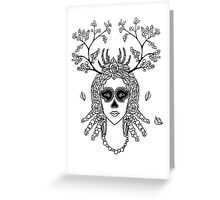 Santa Muerte. Portrait of young woman with skeleton make-up and flower wreath with berries black and white hand drawn illustration. Greeting Card