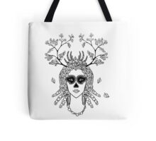 Santa Muerte. Portrait of young woman with skeleton make-up and flower wreath with berries black and white hand drawn illustration. Tote Bag