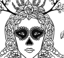 Santa Muerte. Portrait of young woman with skeleton make-up and flower wreath with berries black and white hand drawn illustration. Sticker