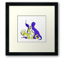 Squid Hell - Purple vs. Yellow Framed Print