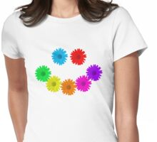 Rainbow Daisy Smiley Face Womens Fitted T-Shirt