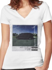 kendrick lamar cover Women's Fitted V-Neck T-Shirt