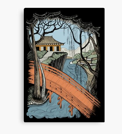 Landscape with bridge and willow Canvas Print