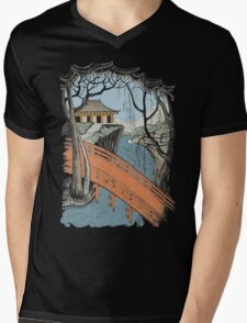 Landscape with bridge and willow Mens V-Neck T-Shirt