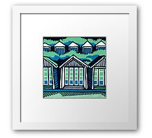 Beach Huts - Blue & Turquoise Framed Print