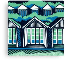 Beach Huts - Blue & Turquoise Canvas Print