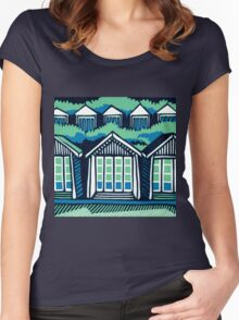 Beach Huts - Blue & Turquoise Women's Fitted Scoop T-Shirt