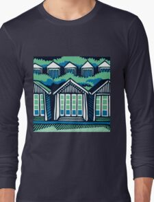 Beach Huts - Blue & Turquoise Long Sleeve T-Shirt