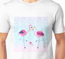Pink Flamingos & Abstract Water Waves Illustration Unisex T-Shirt