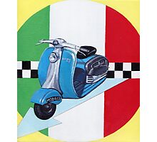Scooter on italian flag Photographic Print